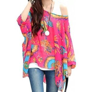 Tops - 🆕 (One Size) Boho Batwing Chiffon Floral Blouse